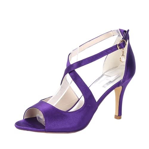 Zapatos de boda con punta abierta para mujer, para novia, fiesta, fiesta,...