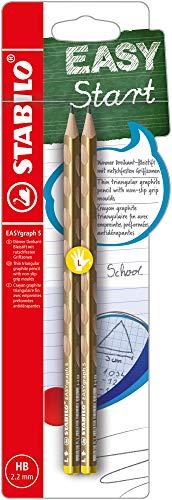 Lápiz de grafito ergonómico STABILO Easygraph S Metallic Edition - Pack con 2 unidades mina Hb - Modelo para Zurdos - Color Oro (B-56636-5)
