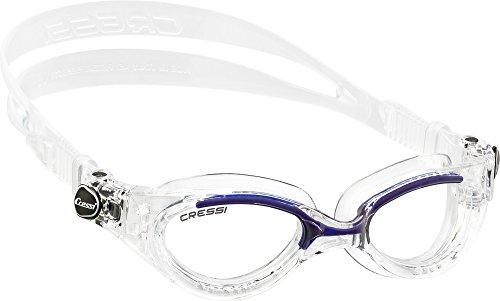 Cressi Flash - Premium Erwachsene Schwimmbrille Antibeschlag und 100% UV Schutz, Blau/Transparent- Transparent Linsen, One Size