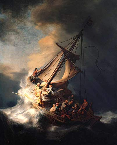 Cristo na Tempestade do Mar da Galiléia de Rembrandt - 60x74 - Tela Canvas Para Quadro