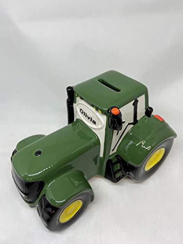 NEW MODEL John Deer Green Tractor Ceramic Money box - GREEN, personalise your own tractor at home
