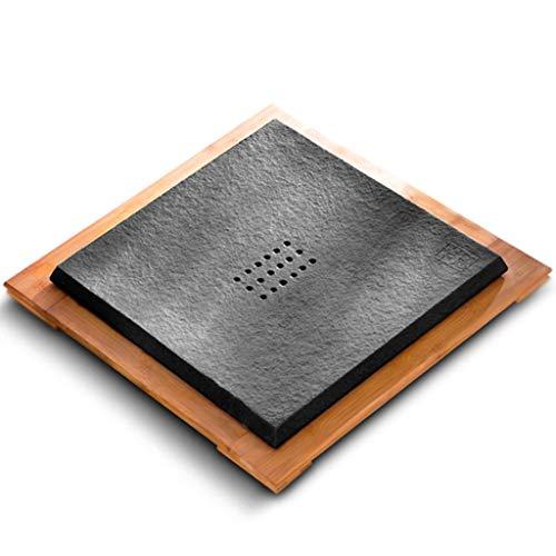 Vierkante zwarte theehouder Kung Fu stenen theehouder natuurstenen theehouder zwart gouden stenen tafelblad natuurlijk geheel blok van Wujinshi, krachtig drainagesysteem