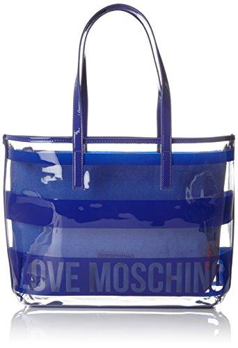 Love Moschino Borsa Pu Trasp. +pu Blu, Cabas femme, Bleu (Blue Transperent), 9x29x40 cm (B x H T)