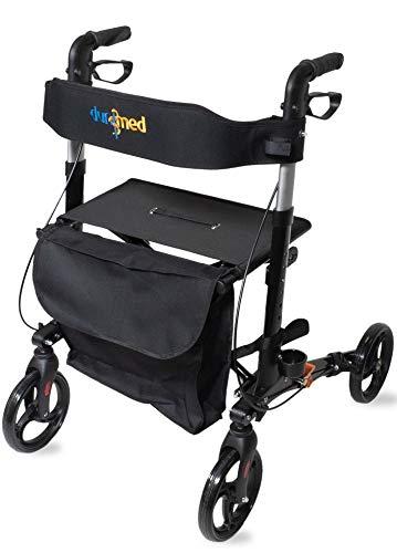 Dunimed Leichtgewicht Faltbarer Rollator - Einfach Faltbar für Kofferraum klappbar Reise - Höhe verstellbar - Inklusive praktischer Tasche unter dem Sitz - Gehwagen - Laufhilfe - Gehhilfe - Schwarz