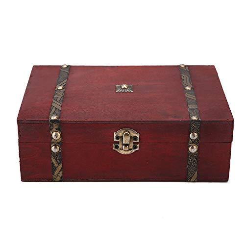 HelloCreate Caja de almacenamiento vintage de madera para joyas, organizador de artículos de vida antiguos, caja de regalo
