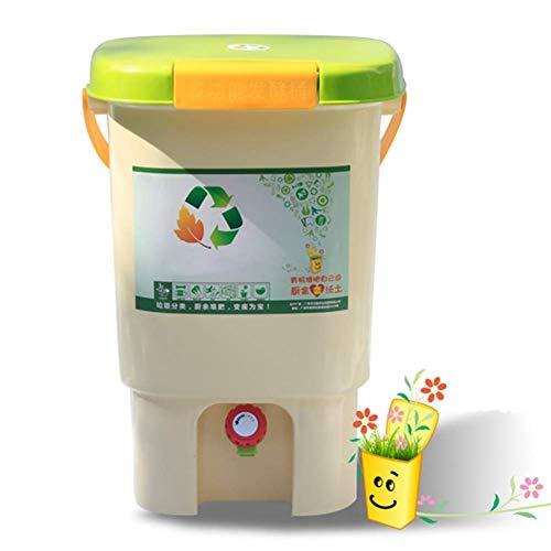 ZHANGYY Pattumiera da Cucina Eco con Coperchio, pattumiera per Compost Domestica con Rubinetto di Scarico, pattumiera Domestica da Interno con Maniglia per Il Trasporto, Piastra filtrante,