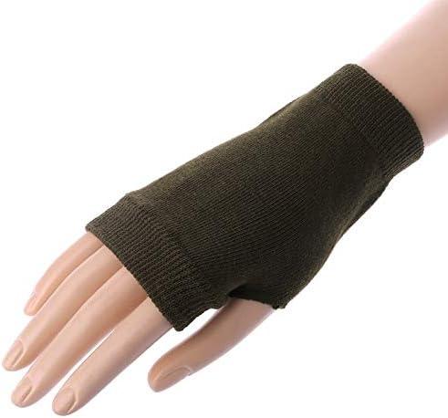 1 Pair Exquisite Knitted Crochet Fingerless Winter Warm Gloves Soft Mittens for Women Winter Accessories - (Color: BK)