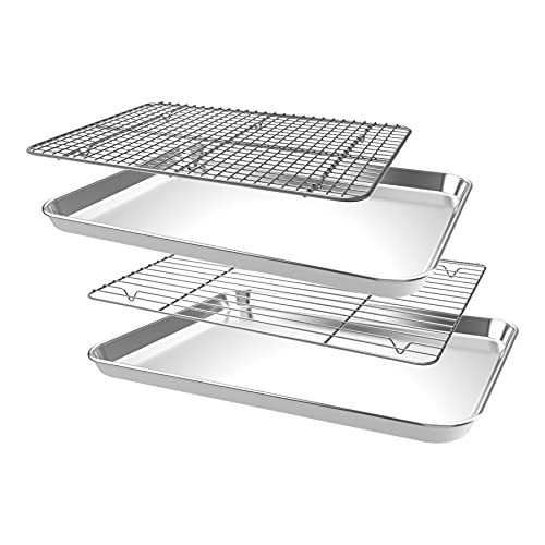 CEKEE Baking Sheet Rack Set [2 Sheets + 2 Racks], Stainless Steel Cookie Sheet Wire Rack for Oven, Nonstick Baking Pan Tray with Cooling Rack Size 12 x 10 x 1 Inch, Non Toxic & Heavy Duty & Easy Clean