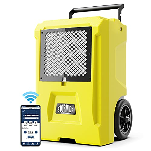 AlorAir 110 Pint Smart WiFi Commercial Dehumidifier, Large Crawl Space Dehumidifier with Pump, Water Damage Equipment for Basements, Garages, and Job Sites, Yellow