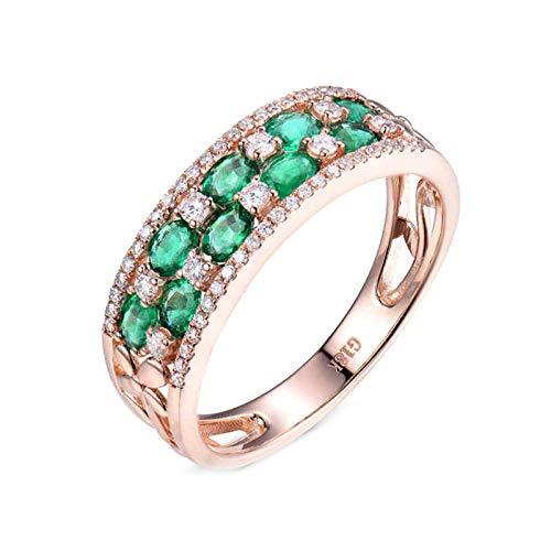 AnazoZ Anillos Mujer Plata Esmeralda Verde,Anillos de Oro Rosa Mujer 18 Kilates Oro Rosa Verde Redondo con Oval Esmeralda Verde 1.28ct Diamante 0.55ct Talla 9,5