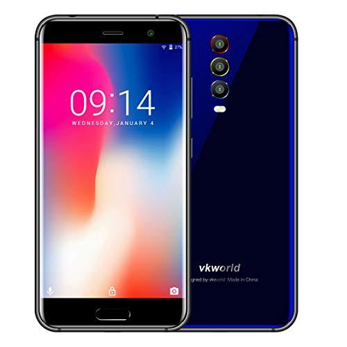 VKworld K1 4GB RAM+64GB ROM 4Gスマートフォン フェイスID & 指紋認識 4040mAhバッテリー 5.2インチ Android 8.1 搭載 MTK6750T オクタコア 1.5GHz デュアルSIM + トリプルバックカメラ (ブルー)