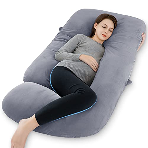 Marine Moon Pregnancy Pillows, U Shaped Full Body Maternity Pillow with Removable Velvet Cover, 55...