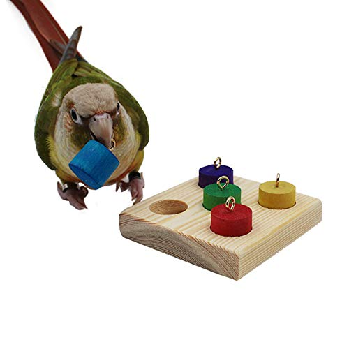 QBLEEV Bird Puzzles Board Toys, Trick Training Wood Blocks Foot Toys, Parrot Educational Color Wooden Activity Play Gym Accessories