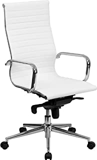 Flash Furniture High Back White Ribbed Leather Executive Swivel Office Chair with Knee-Tilt Control and Arms