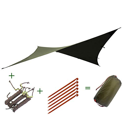 Camping Tarpaulin - Hangmat Multi-Functionele Luifel, 300 * 300Cm, Draagbare Opvouwbaar, PU Materiaal, Waterdichte scheurbestendig Anti-UV, Voor Outdoor Camping Reis Vakantie
