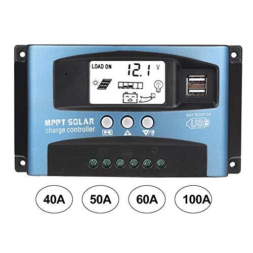 Solarladeregler - Solarladeregler MPPT 40/50/60/100A Solarladeregler Dual USB LCD Display 12V 24V(36V solar panel)