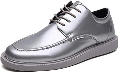 ZRH Zapatos Hombre Oxford Moda Hombres Discoteca Usar Zapatos De Encaje hasta Plana Charol Brillante Antideslizante Suela Botines Hombre (Color : Silver, Size : 7 UK)