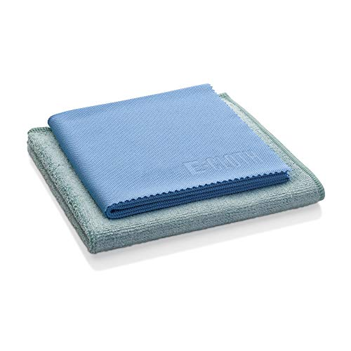 E-Cloth Pack-1 Pano de limpeza de microfibra para cozinha, pano: 31,7 x 31,7 cm Vidro e pano de polimento: 40,6 x 50,8 cm, azul e verde