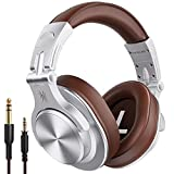 OneOdio FuSion A7 Headphones Bluetooth 5.0 Wireless Headphones 50 Hours Playback AAC Compatible Sealed Sound Source Mix Music Share Bass Enhanced Wired Wireless (Silver)