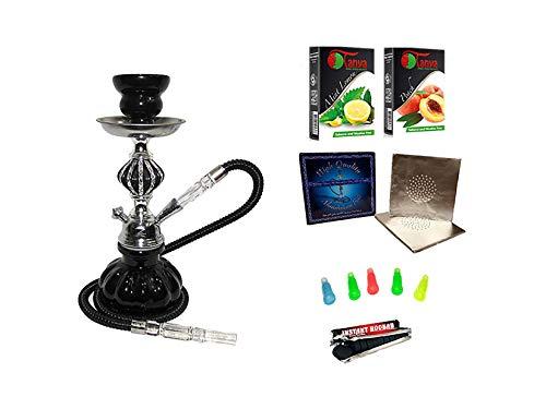 "Zebra Smoke Starter Series: 11"" 1 Hose Pumpkin Hookah WITH CARRYING CASE Combo Kit Set w/ Instant Charcoal (Like Three Kings Charcoal), Hydro Herbal Molasses(like Blue Mist), and Hookah Mouth Tips Smokes More Then Hookah Pen (BLACK)"