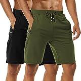 Boyzn Men's 2 Pack Casual Shorts Cotton Workout Elastic Waist Short Pants Adjustable Drawstring Gym Athletic Shorts with Zipper Pockets Black/Army Green-XL