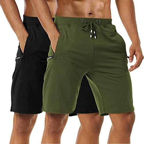 Boyzn Men's 2 Pack Casual Shorts Cotton Workout Elastic Waist Short Pants Adjustable Drawstring Gym Athletic Shorts with Zipper Pockets Black/Army Green-3XL