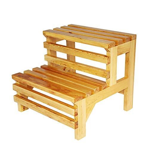 IAIZI Stap Kruk-2 Stappen Effen Houten Ladder Krukje Multifunctionele Kindervoet Krukken Badkamer Anti Slip Kruk, 100 kg Capaciteit