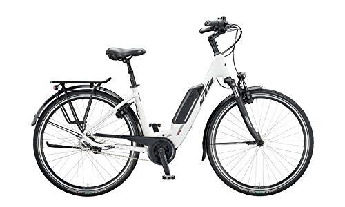 Bicicleta eléctrica KTM Macina Central 8 Bosch 2020 (tubo de 28 pulgadas, 43 cm), color blanco mate, negro y rojo