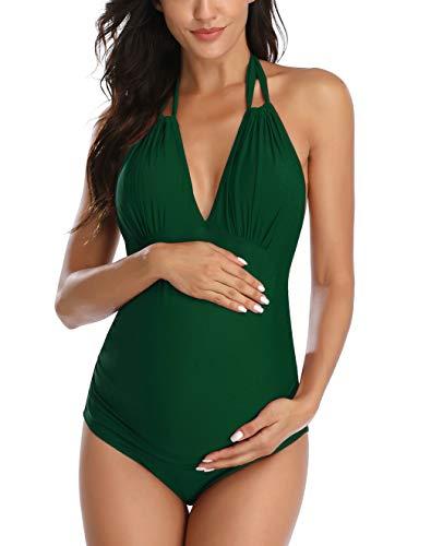 Costume da bagno per maternità, con scollo a V, per gravidanza, bikini -  Verde -  S