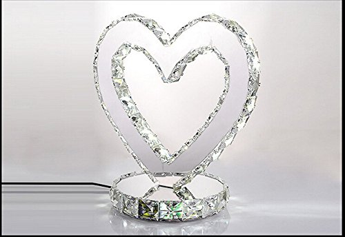 Dixun Elegant Heart Shape Modern Chrome Crystal Desk Lamps Bedroom Nightstand Table Lamp Round Cold White Warm White (Warm) (Cold white)
