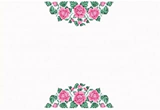 HomeHobbyArt Tischdecke mit Perlen sticken Rosen 210 x 150 cm komplette Stickpackung Stickvorlage mit Vordruck Stickset Stickerei Handarbeit Set