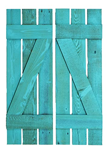 Window Shutter Set of (2) 11 Inches Wide x 33 Inches Tall Reclaimed Barn Wood Exterior or Interior Wall Mounted Decorative Weathered Wooden Farmhouse Decor Style Distressed Western Hand Made