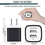 USB Wall Charger, Charger Adapter, Ailkin 2.4Amp Dual Port Foldable Quick Charger Plug Cube Replacement for iPhone 11/X/XR/XS MAS/8, Samsung Galaxy, LG, HTC, Huawei, Moto, Kindle 10 Premium Performance: Dual-USB output with total current 5V/2.1A and input with 100-240V enables you to charge two mobile devices simultaneously at high speed.It can really save your time. Safety assurance: AILKIN'S charger has protection system against over charging, over currents, and over heating. The charger will automatically stop charging when power is full, which can maximumly protect your device. Lightweight:Home charger adapter allows charging at home or in the office via USB cable connection. Simply plug in the USB cable, and plug the adapter into the wall. Compact, lightweight, portable, stylish, easy to store.