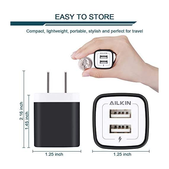 USB Wall Charger, Charger Adapter, Ailkin 2.4Amp Dual Port Foldable Quick Charger Plug Cube Replacement for iPhone 11/X/XR/XS MAS/8, Samsung Galaxy, LG, HTC, Huawei, Moto, Kindle 3 Premium Performance: Dual-USB output with total current 5V/2.1A and input with 100-240V enables you to charge two mobile devices simultaneously at high speed.It can really save your time. Safety assurance: AILKIN'S charger has protection system against over charging, over currents, and over heating. The charger will automatically stop charging when power is full, which can maximumly protect your device. Lightweight:Home charger adapter allows charging at home or in the office via USB cable connection. Simply plug in the USB cable, and plug the adapter into the wall. Compact, lightweight, portable, stylish, easy to store.