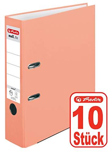 10 Stück Herlitz Ordner maX.file protect A4 8cm PP-Kunststoffbezug/Papier hellgr.besch. 10 Stück lachs