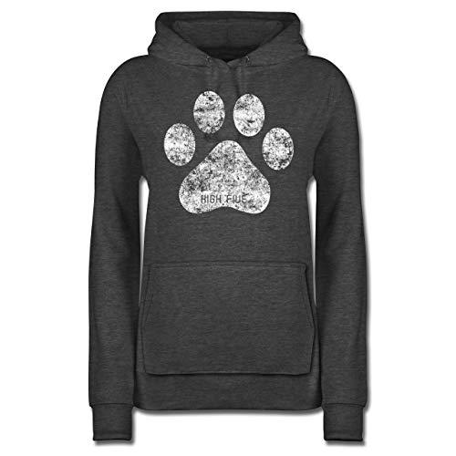 Hunde - High Five Hunde Pfote - S - Anthrazit meliert - Pullover Hund - JH001F - Damen Hoodie und Kapuzenpullover für Frauen