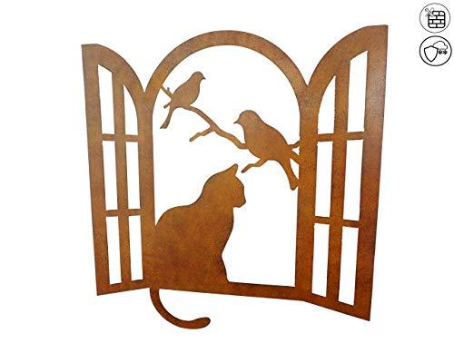 ABC Home Garden Wanddeko Katze am Fenster Keine Montage Für Innen-und Außenbereich, Metal, ca. 1 cm T x 51 cm B x 53 cm H