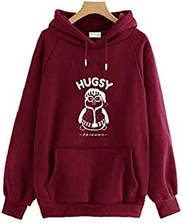 The SV Style Unisex Maroon Hoodie with White Print: HUGSY/Printed Maroon Hoodie/Graphic Printed Hoodie/Hoodie for Men & Women/Warm Hoodie/Unisex Hoodie