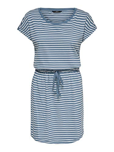 ONLY Damen ONLMAY Life S/S Dress NOOS Kleid, Stripes:Thin Stripe Cloud Dancer Blue Mirage, XS
