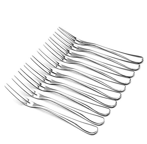 LY-ONE Crab Stainless Steel Forks,Escargot Forks 2 Prong Tasting Appetizer Forks Portable Cocktail Salad Fruit Forks for Party Travel,Set of 10, 5 Inches (10 Pcs)
