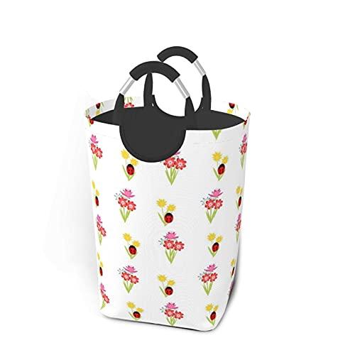 fepeng Cestas de lavandería de mariquita y flores, impermeables, con asas de gran tamaño, para la familia, dormitorio de 57,7 cm