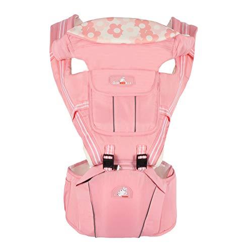 Porte-Bébé Ventraux et Dorsaux avec Hanche Siège Respirant Ergonomique Multifonctionnel Sac à dos Porter 6 Position 0-36 Mois Pink Taille Unique