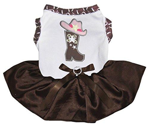 Petitebella Puppy Dog Kleidung Cowgirl Schuhe Top Braun Kleid, X-Large, Weiß