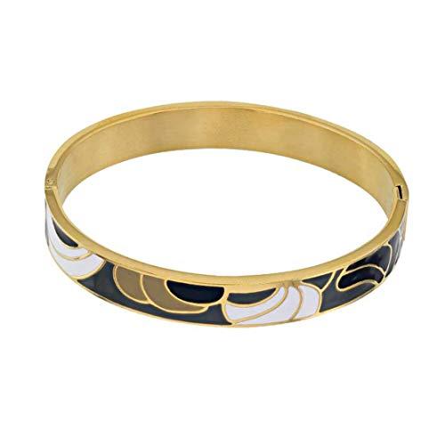 Pulsera para mujer de acero rodiado en oro amarillo para mujer con tapa esmaltada – Idea de regalo, cumpleaños, boda, compromiso, regalo para mujer