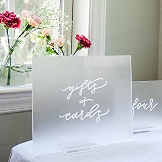 UNIQOOO 8x10 Inch DIY Blank Frosted Acrylic Sheets   Wedding Acrylic Sign, Set of 10   Cards and Gifts Signs, Table Number Signs, Guest Book, Love Memory, Welcome Signs   Wood Stand NOT Included