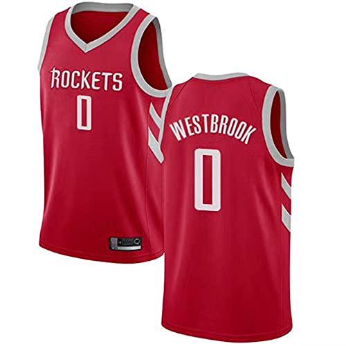 SHR-GCHAO Ocio para Hombre Baloncesto Houston Rockets # 0 Russell Westbrook Jersey, NBA Baloncesto Transpirable Secado Rápido Suelto, Chaleco Sin Mangas Camiseta con Cuello En V,Red 2,XXL(185~190cm)