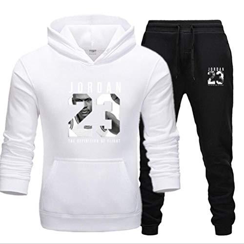 FSBYB para Hombre del chándal Set, Chicago Bulls # 23 Jordan Jerseys Conjunto Deportes Sweatsuit con Bolsillo Grande,Blanco,M