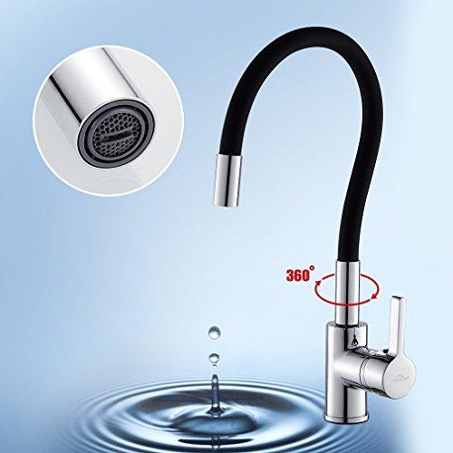 Auralum – Design-Küchenarmatur mit flexiblem Brausehals, Schwarz - 4