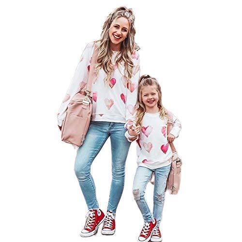 Geagodelia Sudadera de mujer niña mamá e hija iguales sudaderas de manga larga sin capucha impresión regalo Bianco-cuore 5- 6 Años