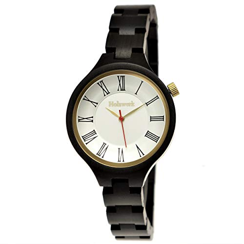 Handgemaakt Holzwerk Germany® designer dameshorloge eco natuurlijke houten klok zwart goud houten armband-horloge analoog klassiek kwartshorloge